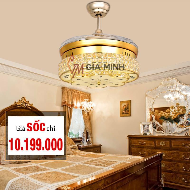 Quạt trần đèn trang trí 8886-GOLD chính hãng